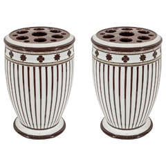 Pair of 19th Century Wedgwood Striped Brown and White Covered Vases