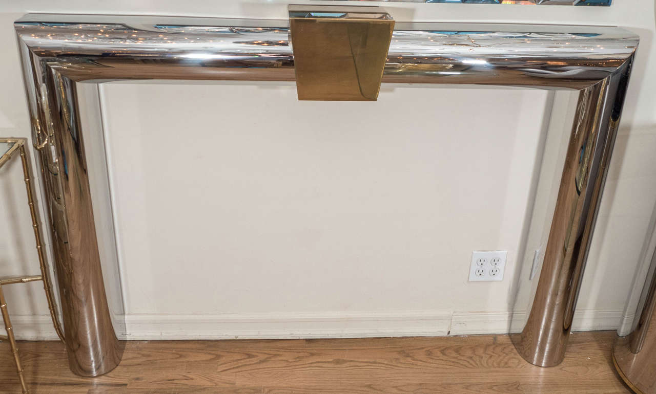 Polished Stainless Steel Fire Place Surround At 1stdibs