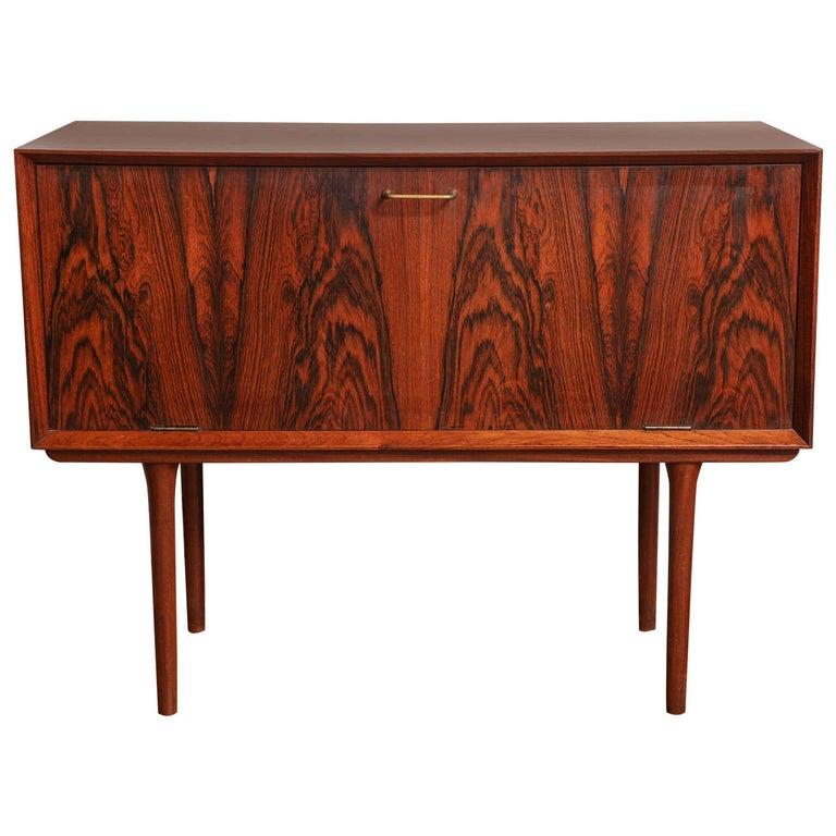 Italian Mid Century Wood Bar / Media Cabinet For Sale