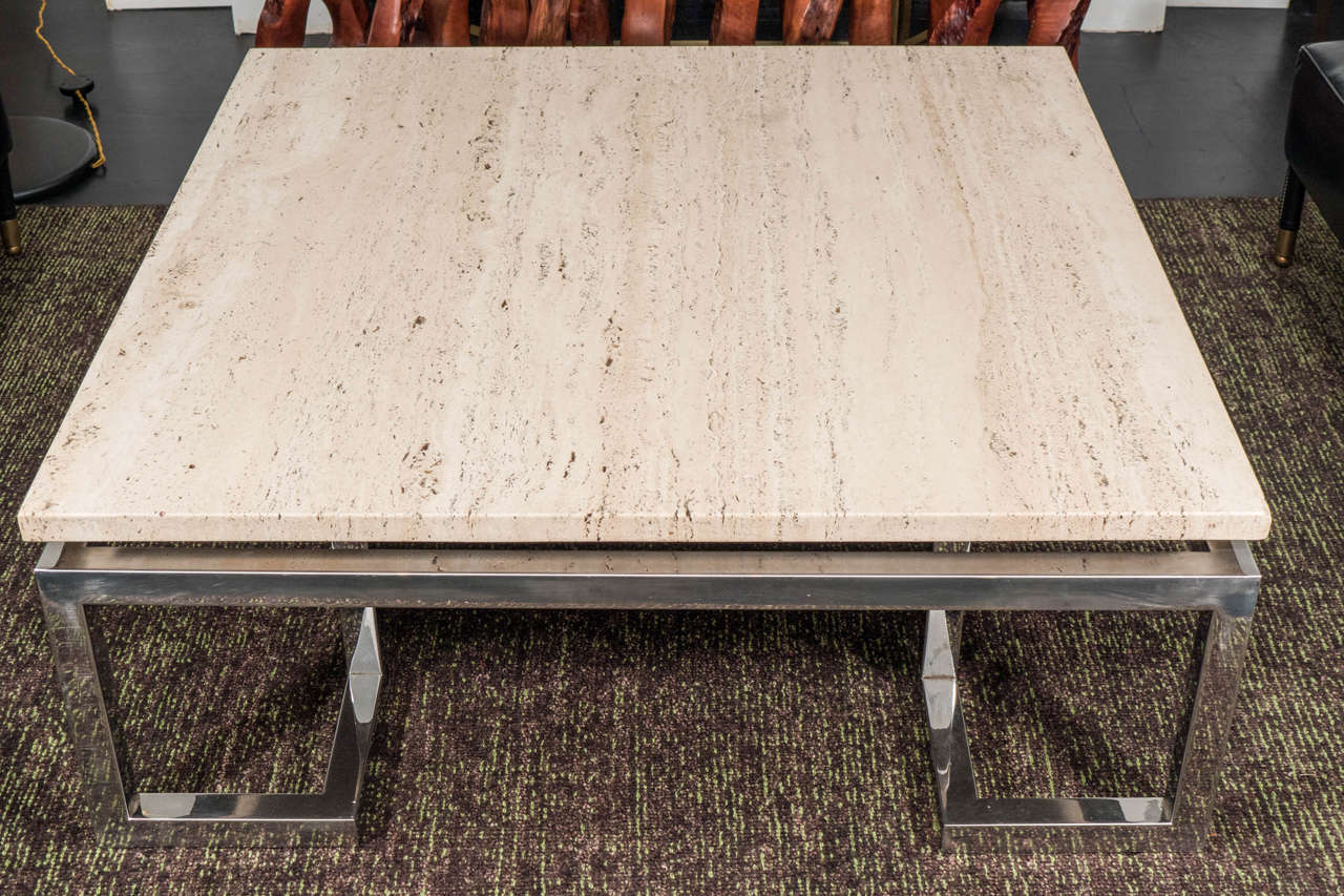 Large Greek Key Travertine Table In Good Condition For Sale In New York, NY
