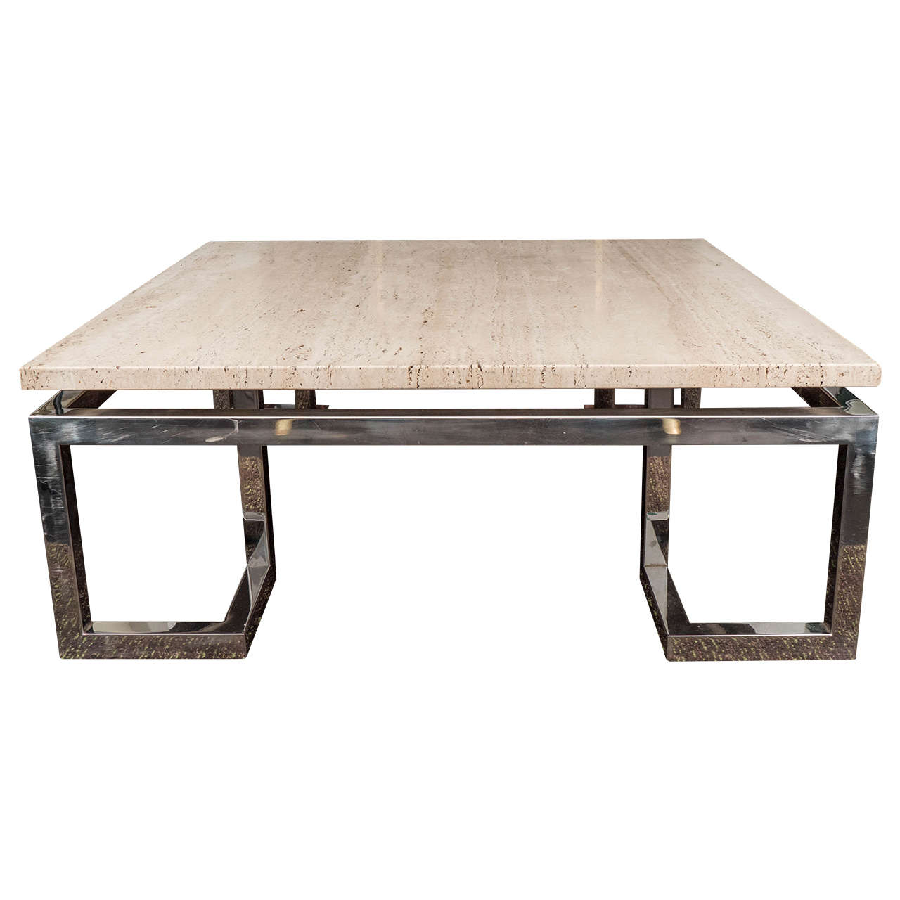 Large Greek Key Travertine Table For Sale