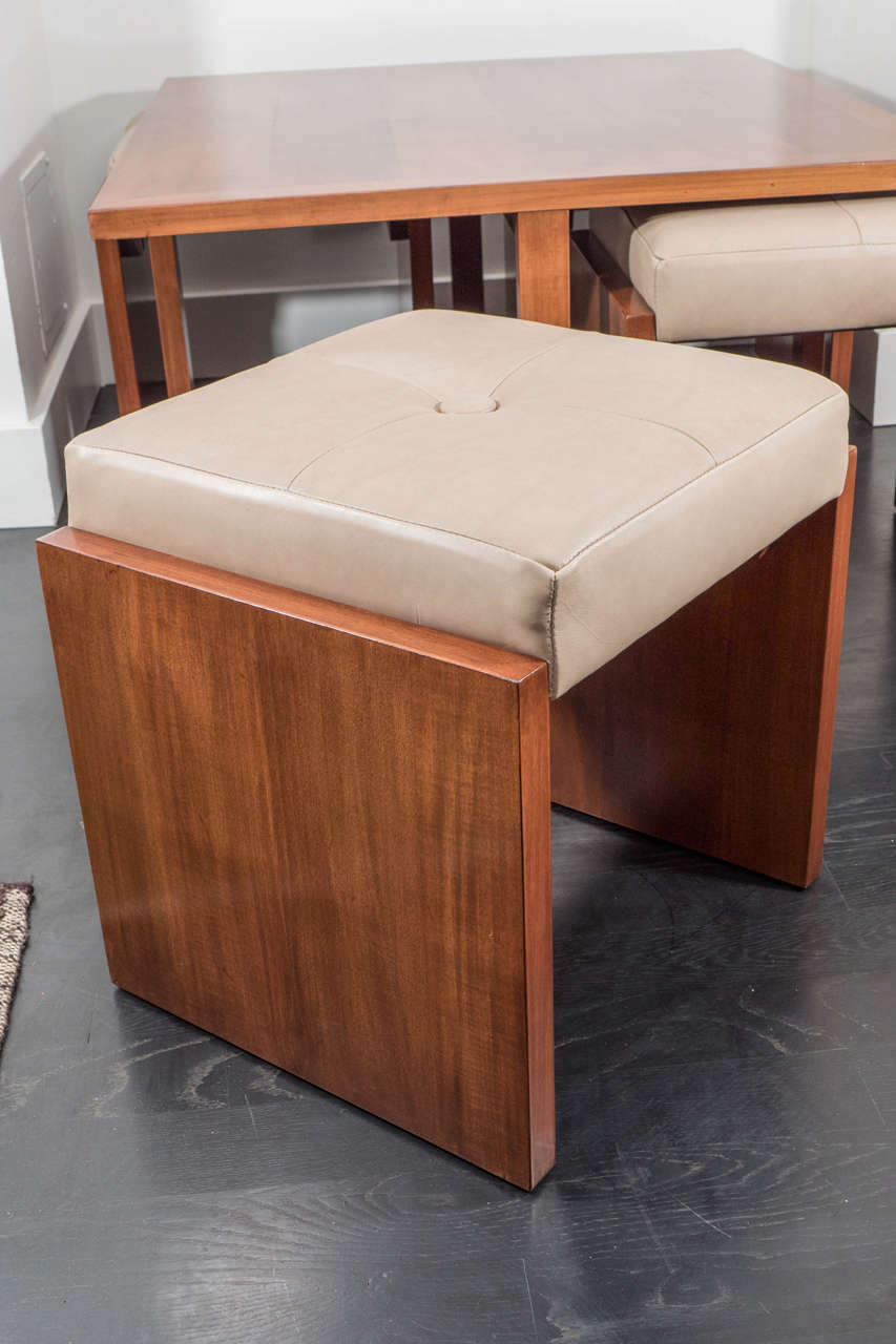 Mahogany benches with matching table for sale at 1stdibs for Cocktail table with 4 benches