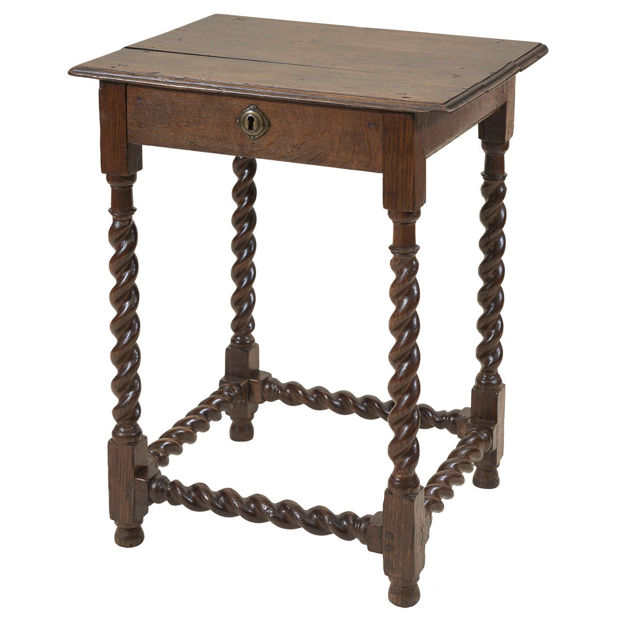 18th Century English Jacobean Style Twist Leg Oak Side Table For