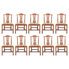 Set of Ten Georgian Style Japanned Side Chairs