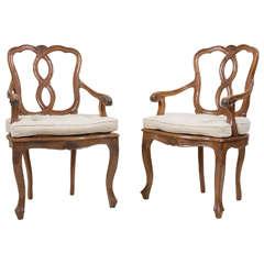 Pair of Italian Walnut Armchairs