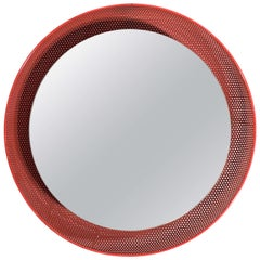 1960s Red Painted Italian Mirror