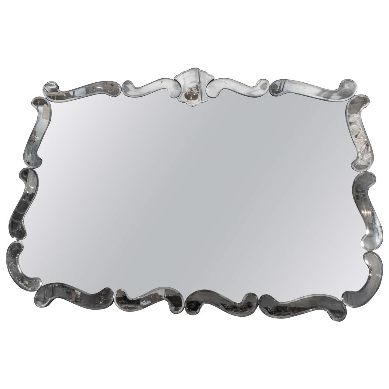 1940s Hollywood Regency Smoke and Clear Mirror