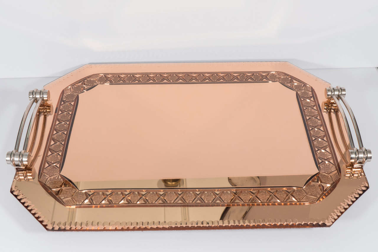 French Vintage Gold Mirrored Tray