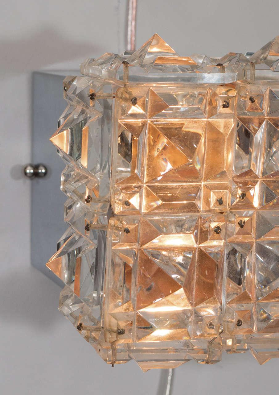 Vintage Kinkeldey Cut Crystal Flush Mount Ceiling Lights, 1960s, Germany at 1stdibs