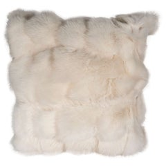White Fox Pillow with White Leather Backing