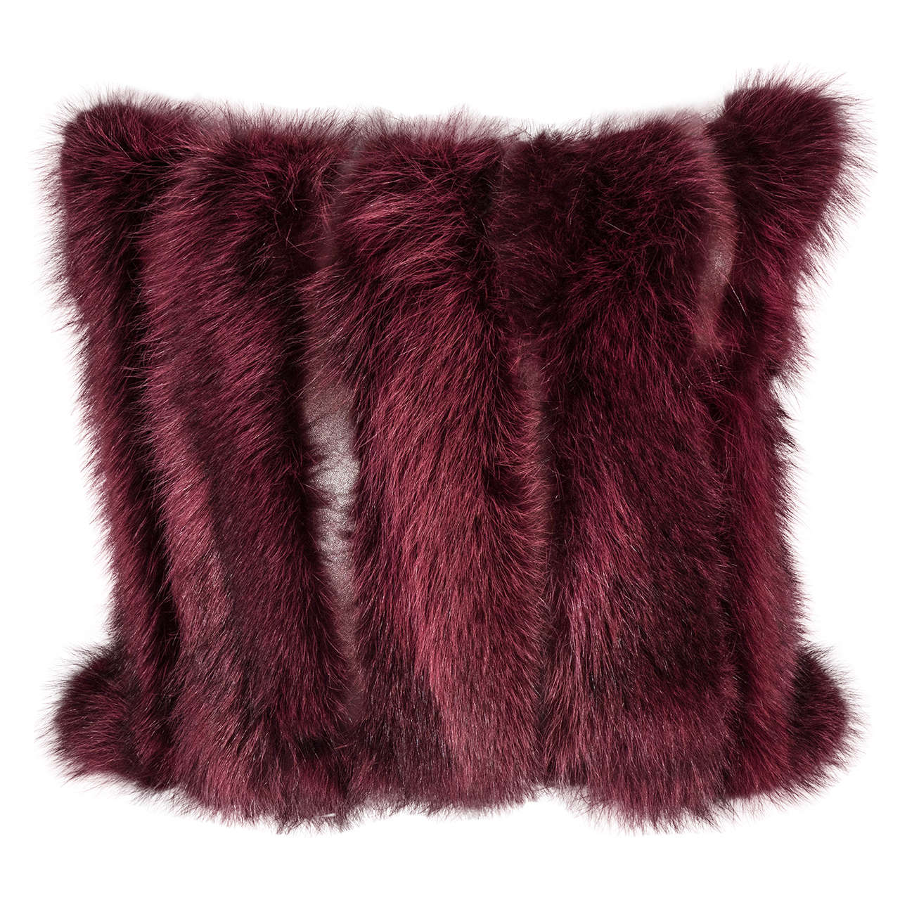 Genuine Fox Pillow in Burgundy with Leather Strips For Sale at 1stdibs