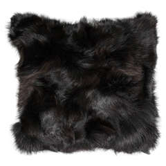 Genuine Dark Brown Fox Pillow Double-Sided