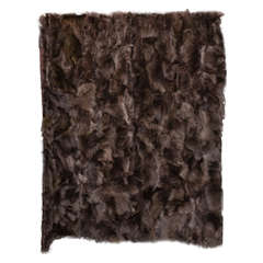 Genuine Brown Fox Throw with Quilted Satin Lining