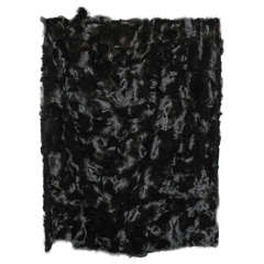 Genuine Black Fox Blanket with Black Quilted Satin Lining
