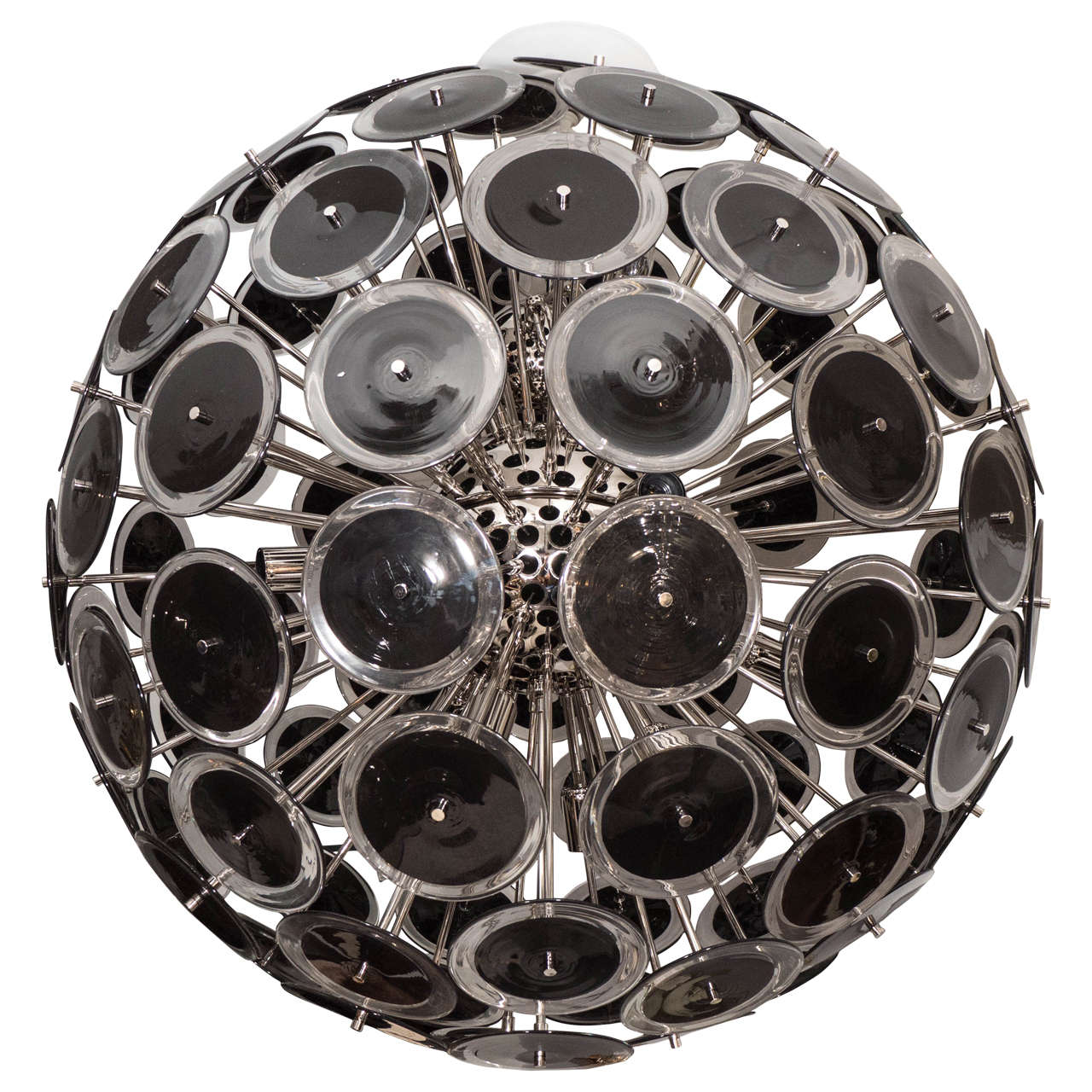 Huge Black Murano Disc Sputnik Chandelier