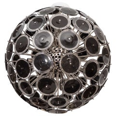 Large Black Murano Glass Disc Sputnik Chandelier