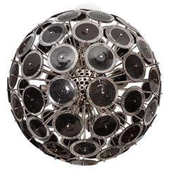 Huge Black Murano Disc Sputnik Chandelier