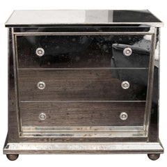 Custom Ball Foot Mirrored Commode with Silver Leaf Trim