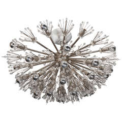 Flush Mount Crystal and Polished Nickel Starburst Light Fixture