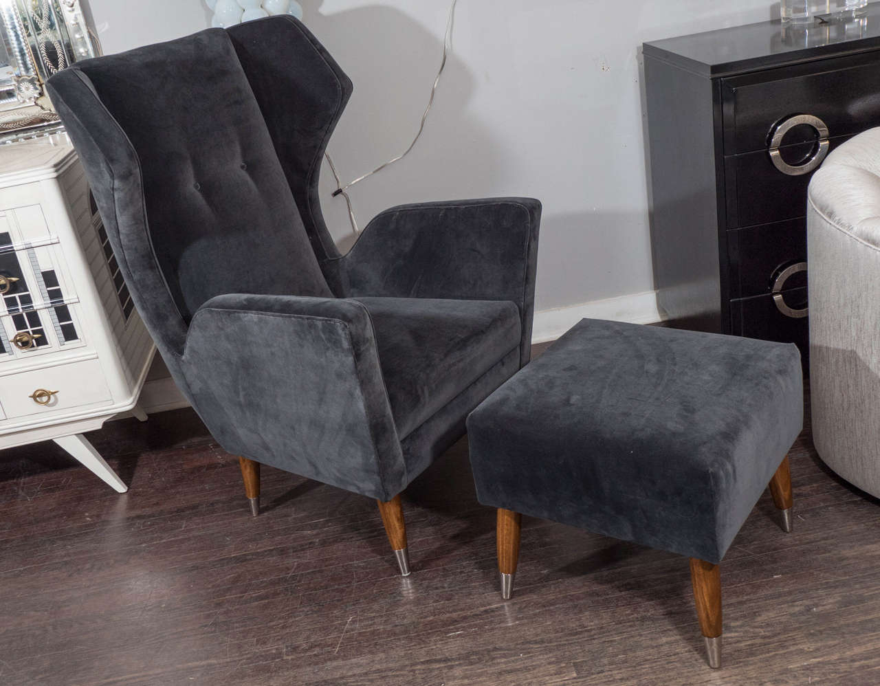 Custom Gio Ponti style chair and ottoman.