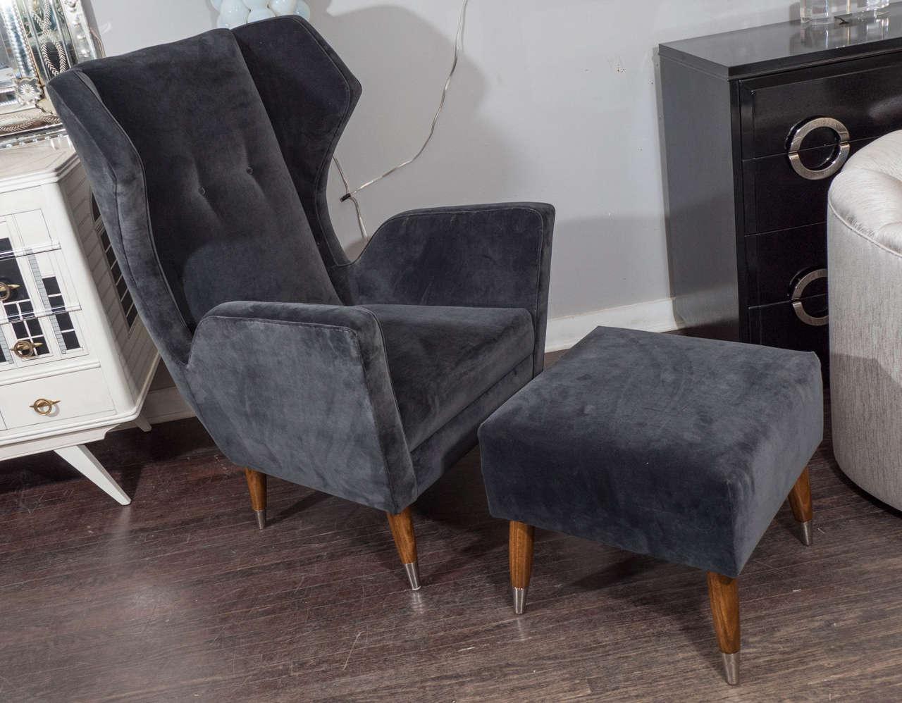 Custom Gio Ponti style chair and ottoman.