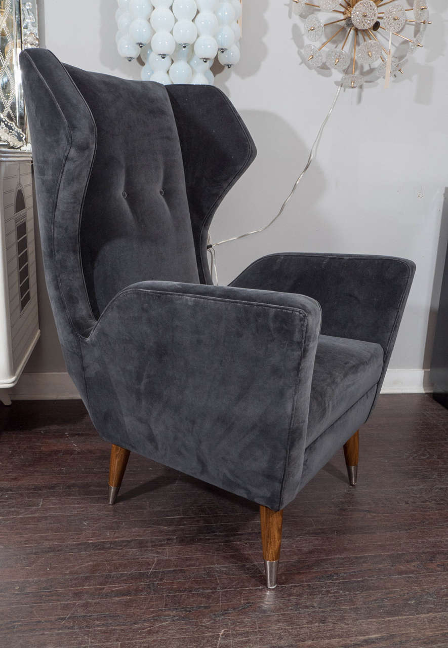 Custom Gio Ponti Style Chair and Ottoman For Sale 1
