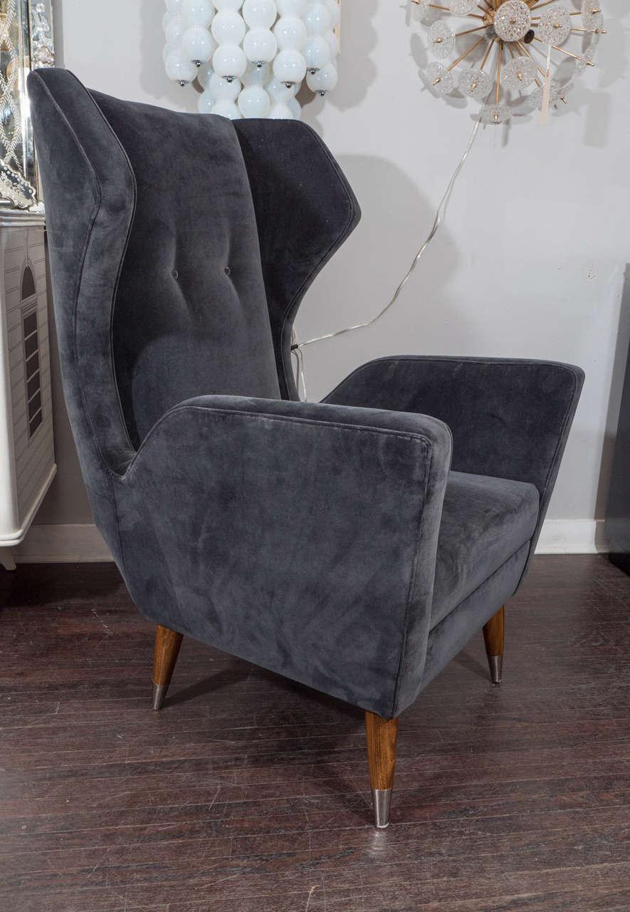Custom Gio Ponti Style Chair and Ottoman For Sale 1