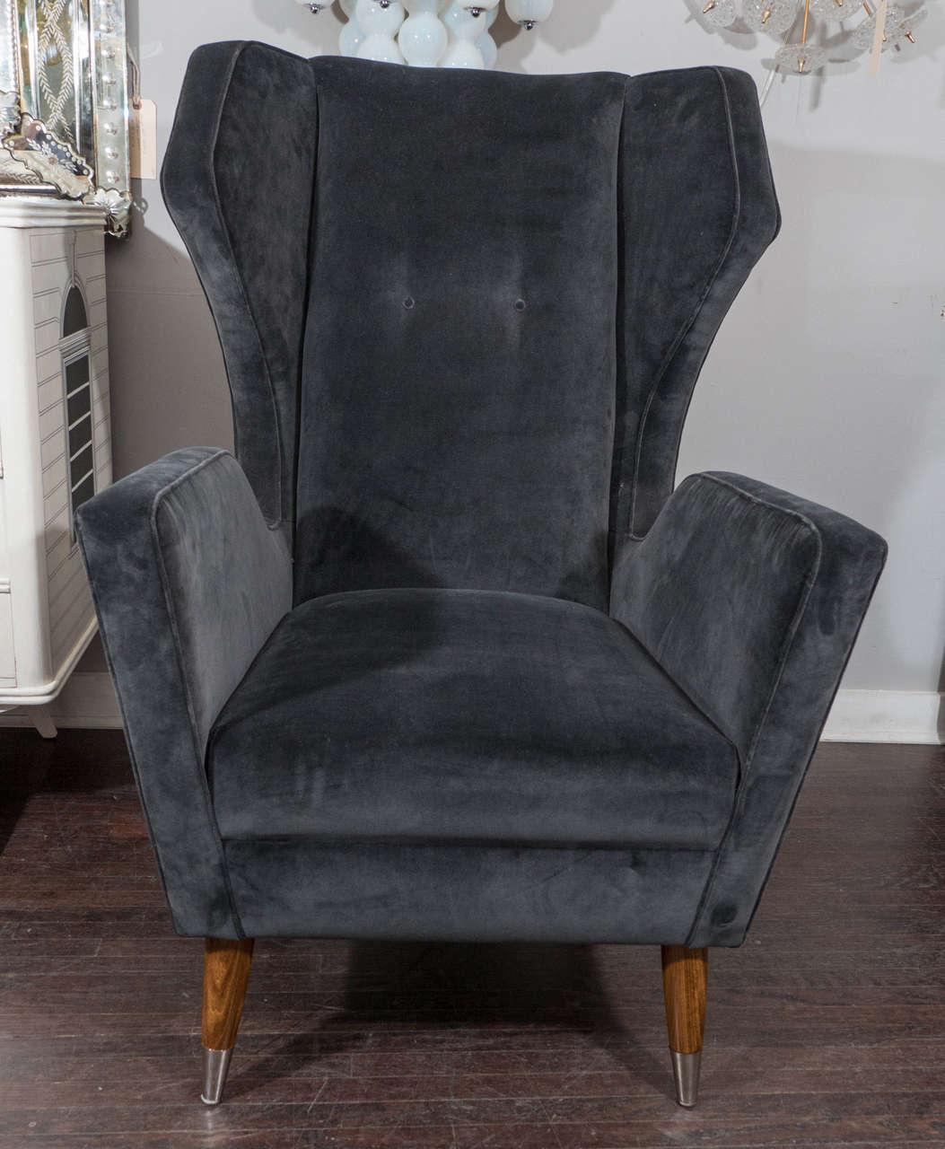 Custom Gio Ponti Style Chair and Ottoman For Sale 2