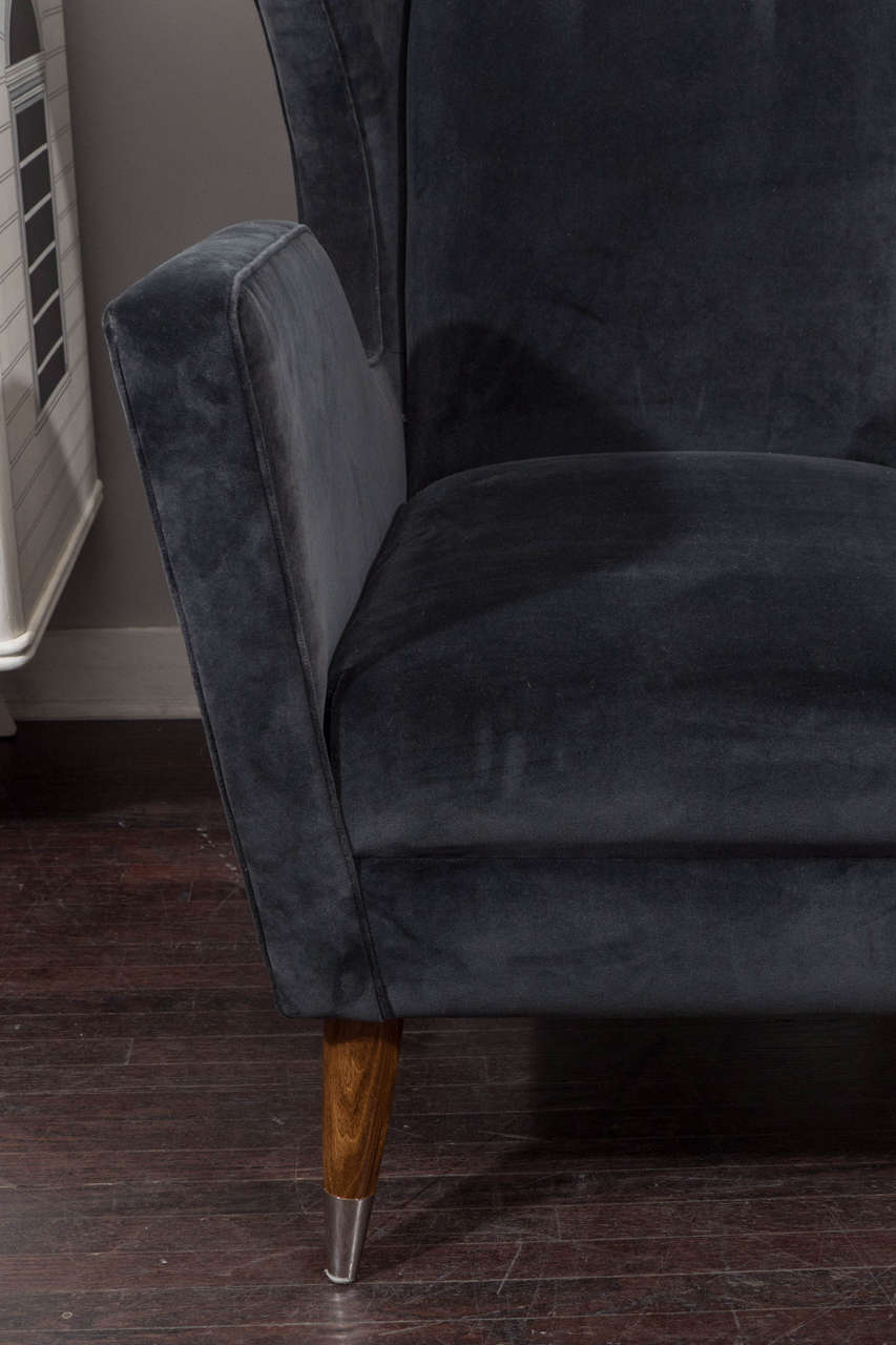 Custom Gio Ponti Style Chair and Ottoman For Sale 3
