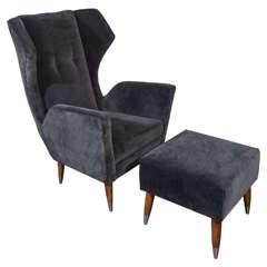 Custom Gio Ponti Style Chair and Ottoman