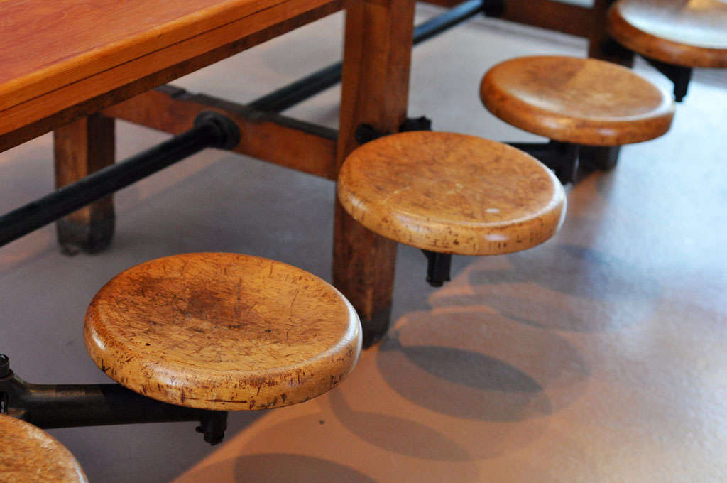 Table With Attached Seats At 1stdibs
