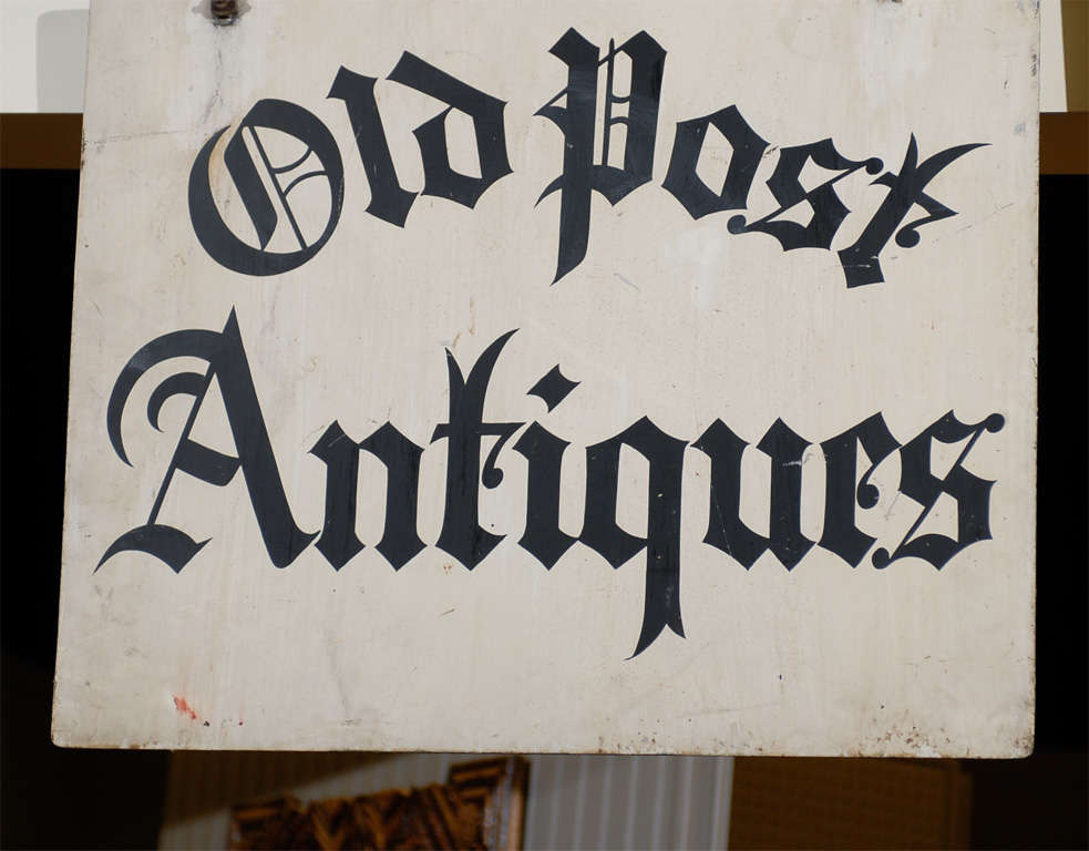 Antique Iron 'Old Post Antiques' Sign 3