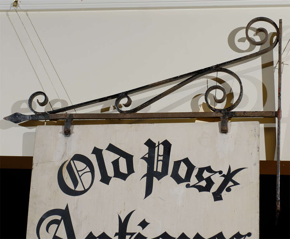 Antique Iron 'Old Post Antiques' Sign 4