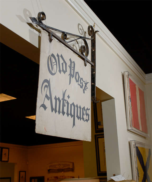 Antique Iron 'Old Post Antiques' Sign 6
