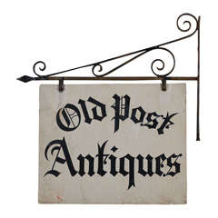 Antique Iron 'Old Post Antiques' Sign