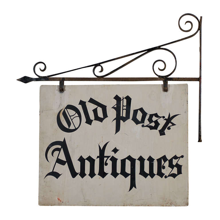 Antique Iron 'Old Post Antiques' Sign 1