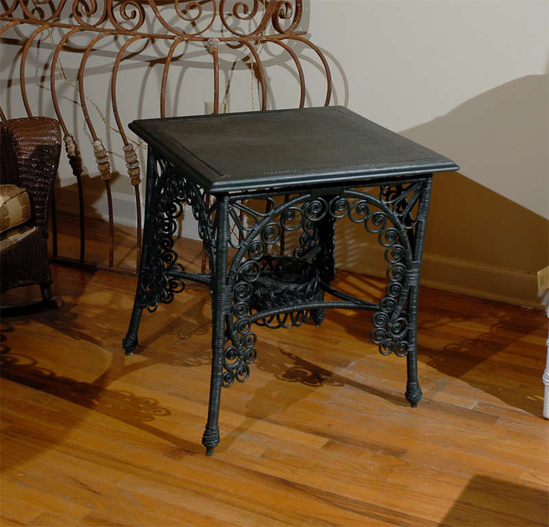 Late 19th C. American Victorian Wicker Table 2