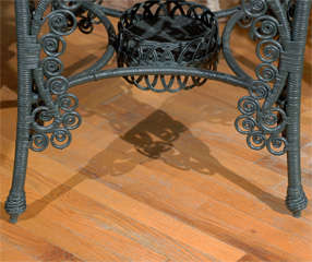 Late 19th C. American Victorian Wicker Table image 7