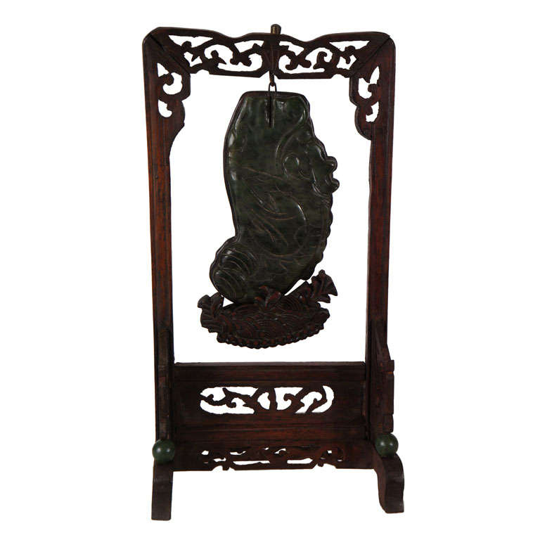19th Century Nephrite Jade Carved Plaque on Stand