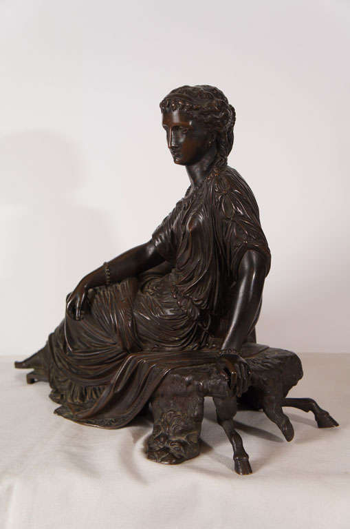 French Classical Bronze of a Greek or Roman Female Figure For Sale