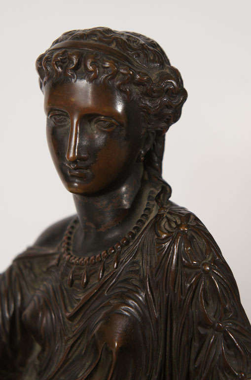 Classical Bronze of a Greek or Roman Female Figure In Good Condition For Sale In Hudson, NY