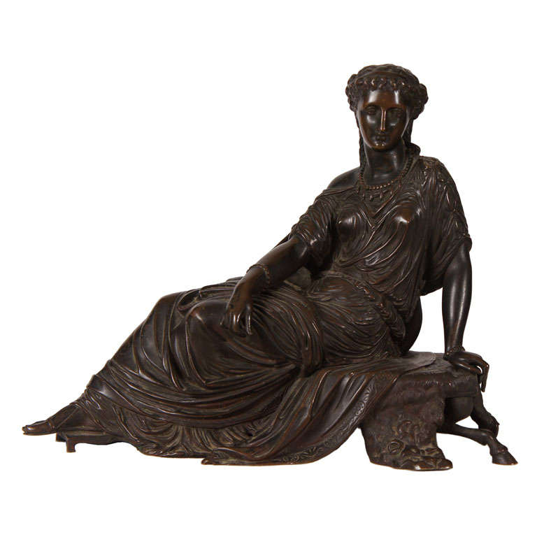 Classical Bronze of a Greek or Roman Female Figure For Sale
