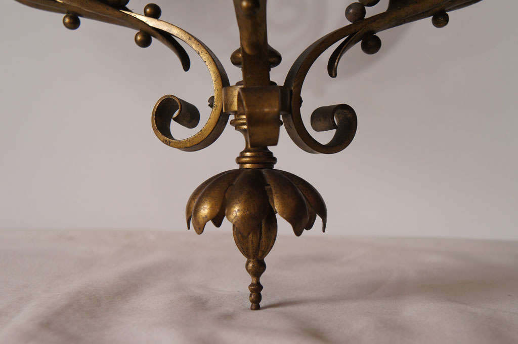 Cast Bronze Three Light Chandelier For Sale 1