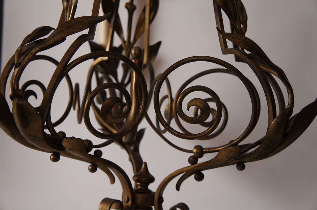 Cast Bronze Three Light Chandelier For Sale 2