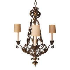 Cast Bronze Three Light Chandelier