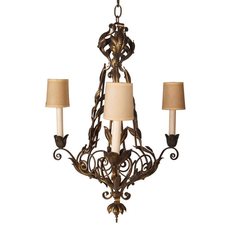 Cast Bronze Three Light Chandelier For Sale