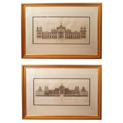 Pair Period Hand Colored Engravings of Blenheim Palace