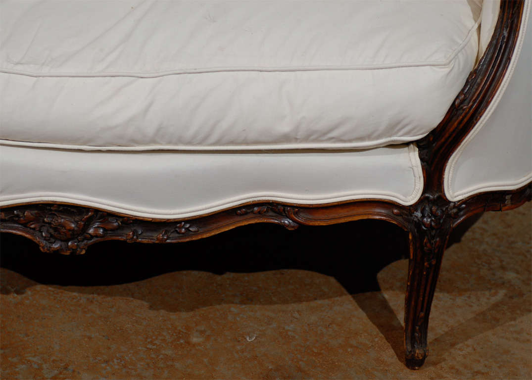 19th century french louis xv style canape in walnut for for Canape style louis xv