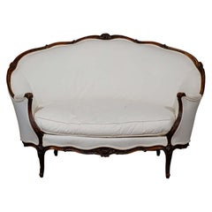 French Louis XV Style Walnut Canapé with New Upholstery and Wraparound Back