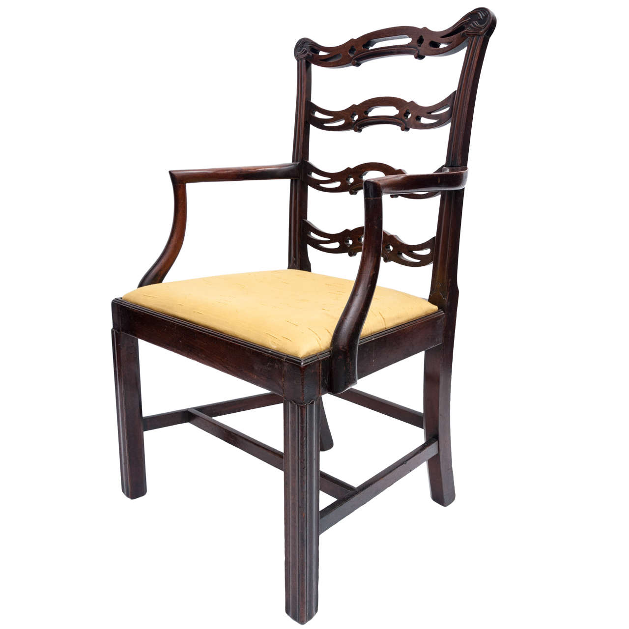 Authentic chippendale chairs - Georgian Mahogany Chippendale Elbow Chair